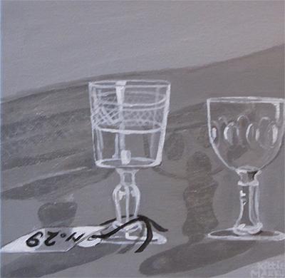 No. 29 - Oude glaasjes - Acryl op doek, in zilveren lijst - 20 x 20 cm - Kittie Markus