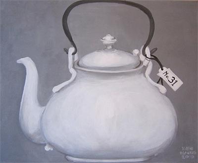 No. 31 - Chocoladepot - Acryl op doek, met witte lijst - 40 x 50 cm - Kittie Markus
