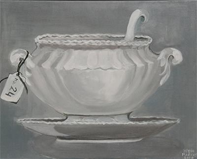 No. 24 - Sauskom - Acryl op doek, met witte lijst - 40 x 50 cm - Kittie Markus