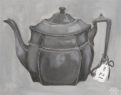 No. 21 - Tinnen theepot - Acryl op doek, met witte lijst - 40 x 50 cm - Kittie Markus
