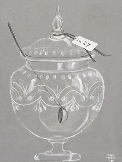 No. 27 - Bowlpot in witte lijst - Acryl op doek - 60 x 80 cm - Kittie Markus