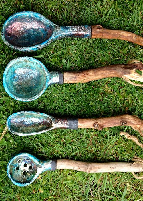 Lepels - Raku gestookt - met platanen-houten steel - Kittie Markus