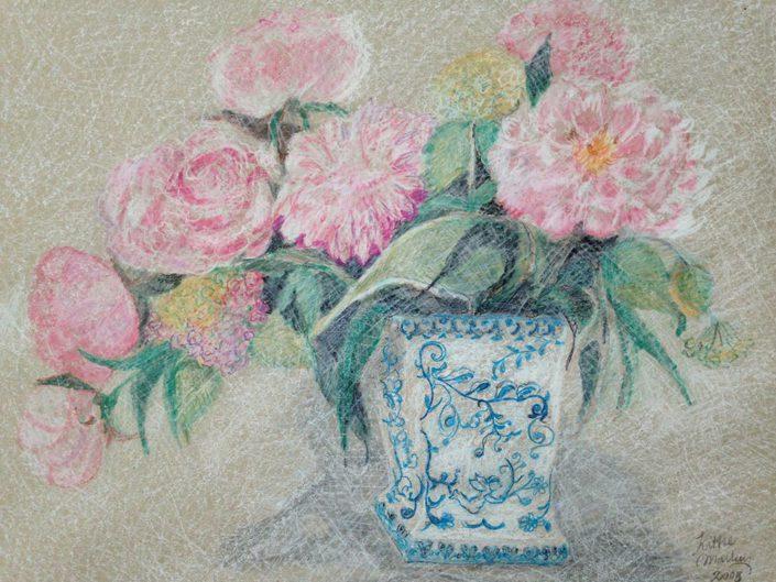 Pioenrozen - Pastelkrijt op papier - 70 x 50 cm - Kittie Markus