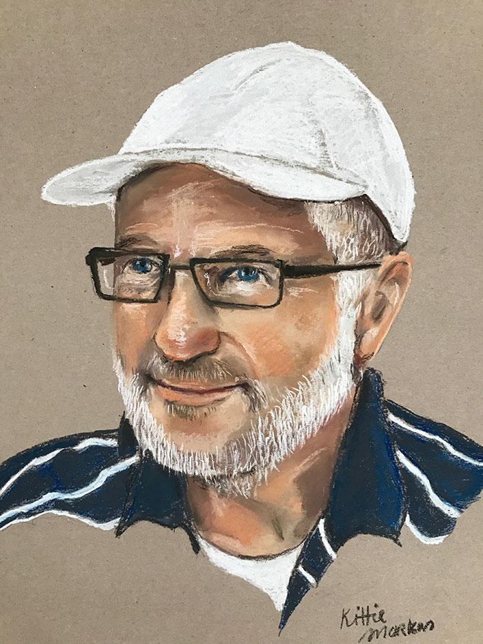 Portret van een vriend - Pastelkrijt op grauw papier - 40 x 60 cm - Kittie Markus
