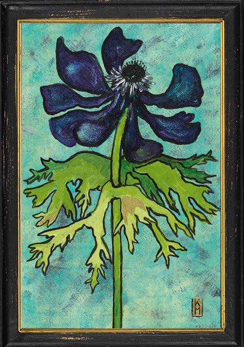 Uitgebloeide anemoon in lijst, geschilderd door Kittie Markus